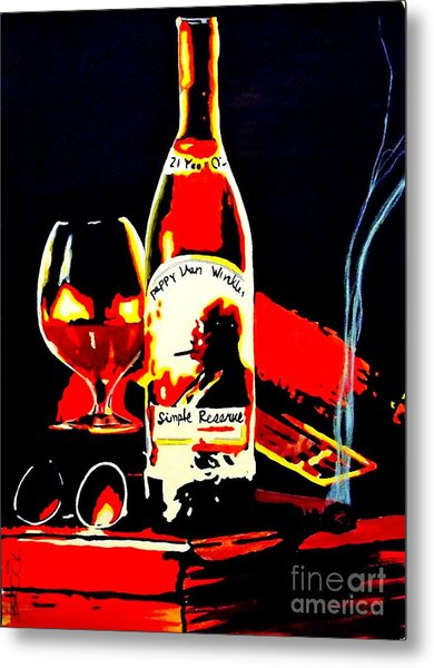 Wee Nip By The Fire Metal Print