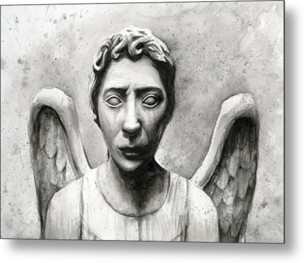 Weeping Angel Don't Blink Doctor Who Fan Art Metal Print