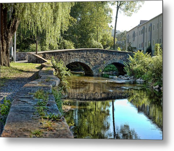 Weeping Willow Bridge Metal Print