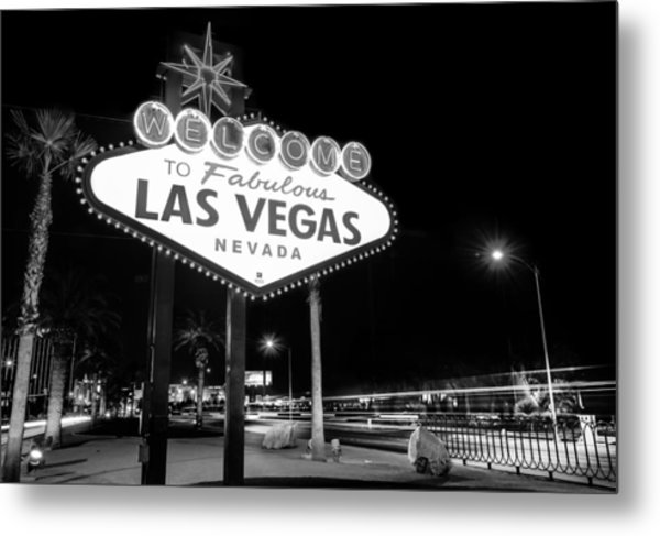Welcome To Fabulous Las Vegas - Neon Sign In Black And White Metal Print