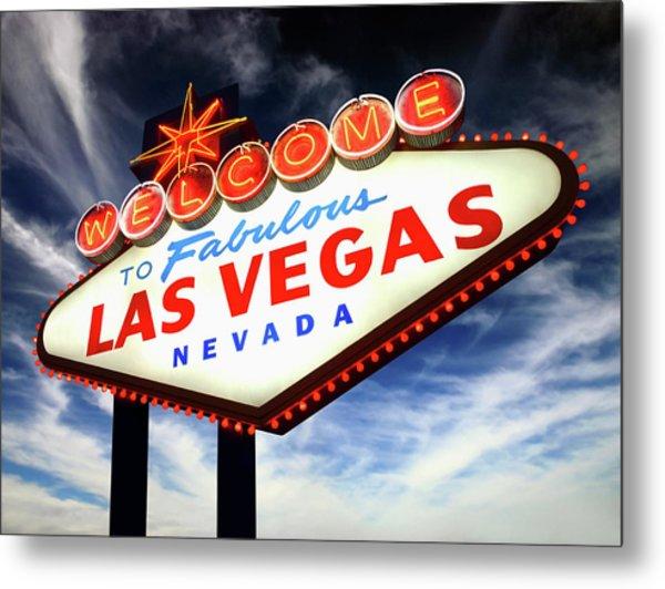 Welcome To Las Vegas Neon Sign, Low Metal Print
