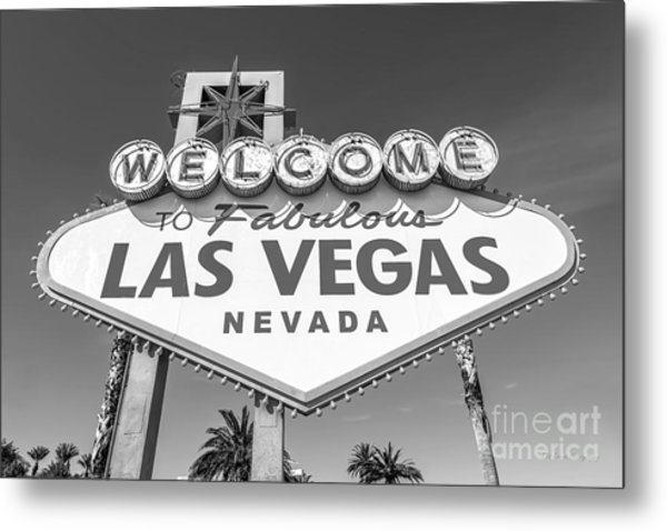 Welcome To Las Vegas Sign Black And White Metal Print