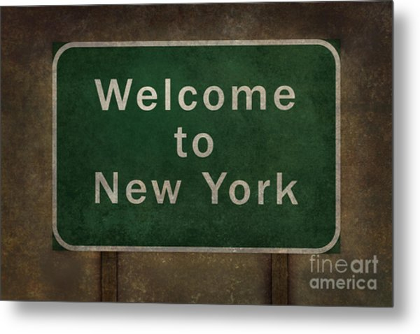 Welcome To New York Highway Road Side Sign Metal Print
