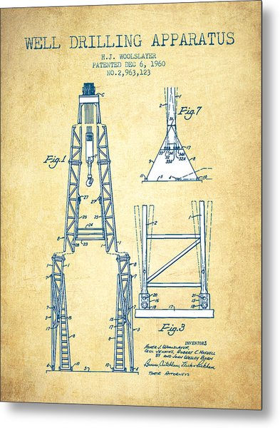 Well Drilling Apparatus Patent From 1960 - Vintage Paper Metal Print