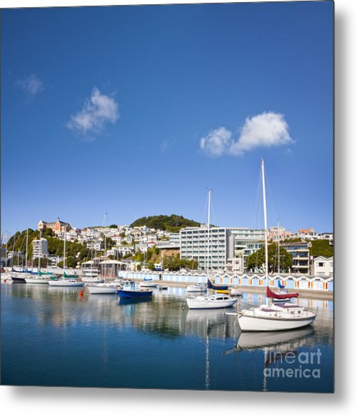 Wellington Oriental Bay Marina New Zealand Metal Print