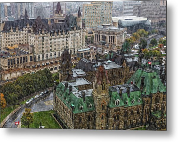 West Block Of The Parliament Hill In Metal Print