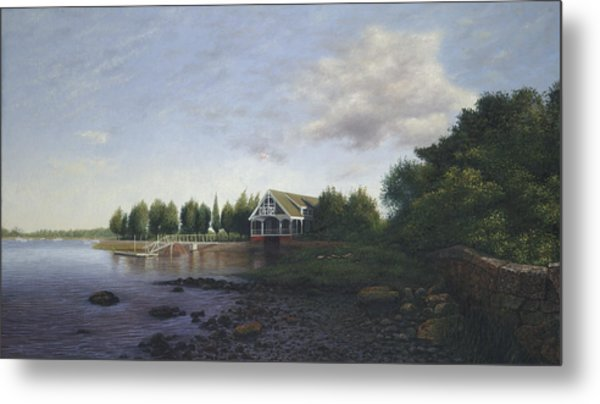 West Falmouth Boathouse At Low Tide Metal Print