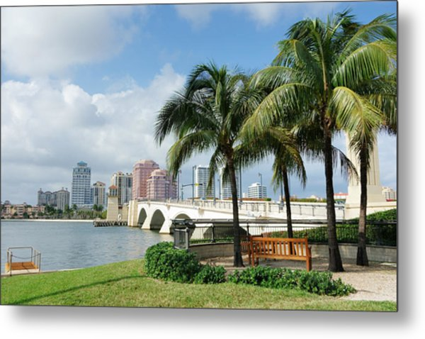 West Palm Beach Cityscape Viewed Across Intracoastal Waterway Metal Print by NoDerog