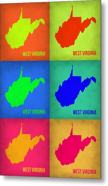 West Virginia Pop Art Map 1 Metal Print