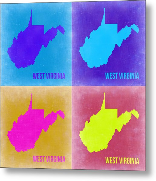 West Virginia Pop Art Map 2 Metal Print
