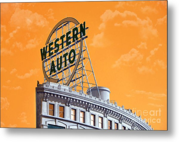 Western Auto Sign Artistic Sky Metal Print