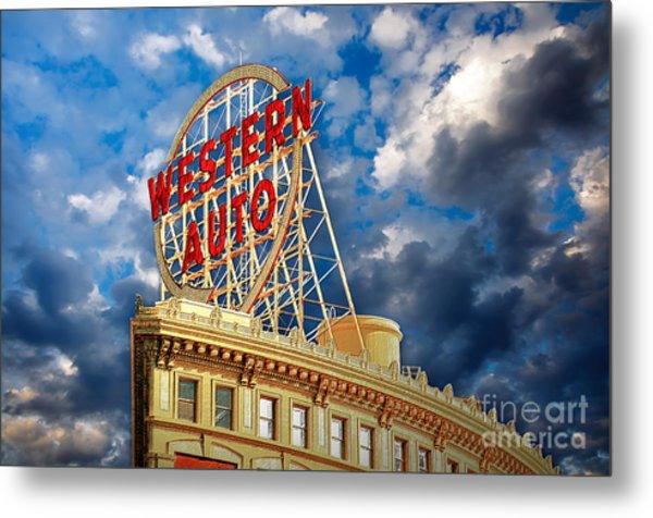 Western Auto Sign Downtown Kansas City Metal Print