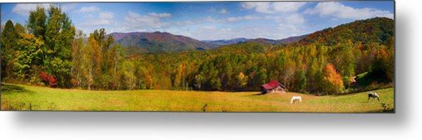 Western North Carolina Horses And Mountains Panorama Metal Print