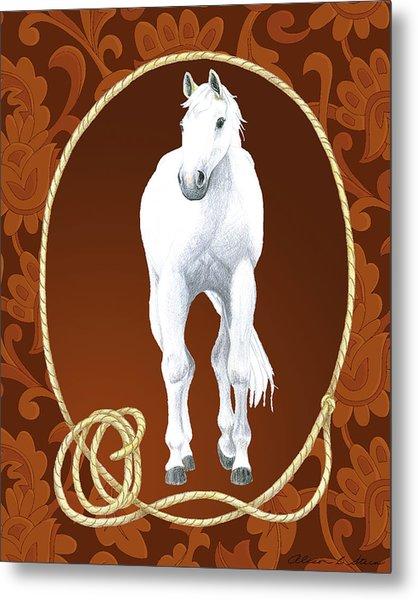 Western Roundup Standing Horse Metal Print