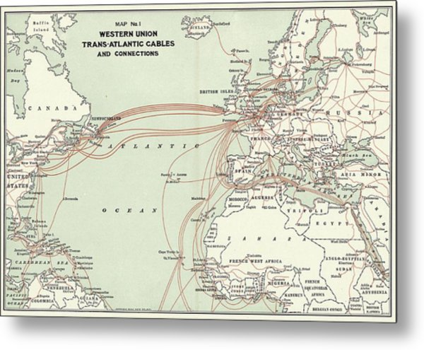 Western Union Transatlantic Cables Metal Print by Library Of Congress, Geography And Map Division