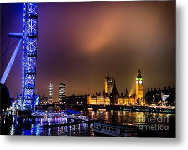 Westminster And Eye Night Glow Metal Print