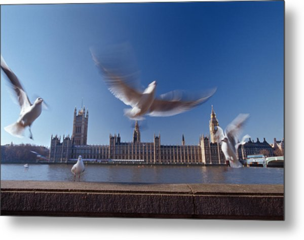 Westminster Palace And Big Ben With Sea Metal Print