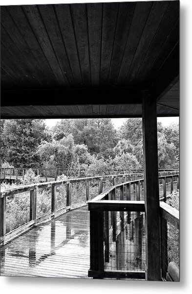 Boardwalk In Black And White 4 Metal Print