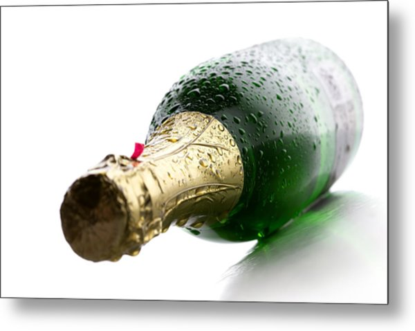 Wet Champagne Bottle Metal Print