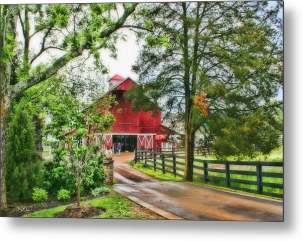 Landscape - Barn - Wet Day On The Farm Metal Print by Barry Jones