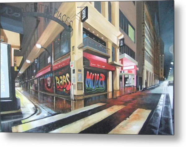 Wet Night In Melbourne Metal Print by Clive Holden