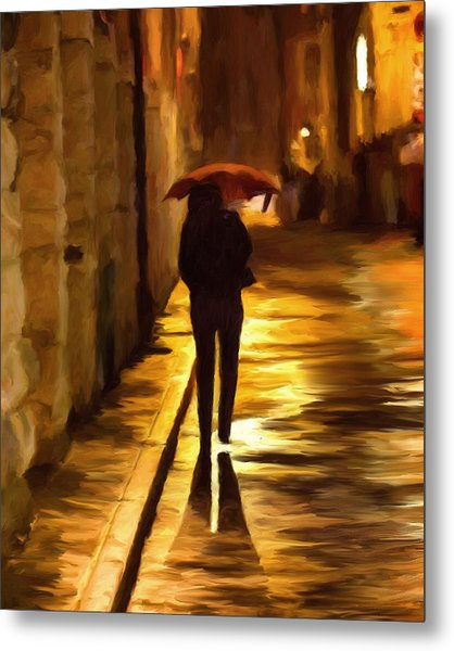 Wet Rainy Night Metal Print