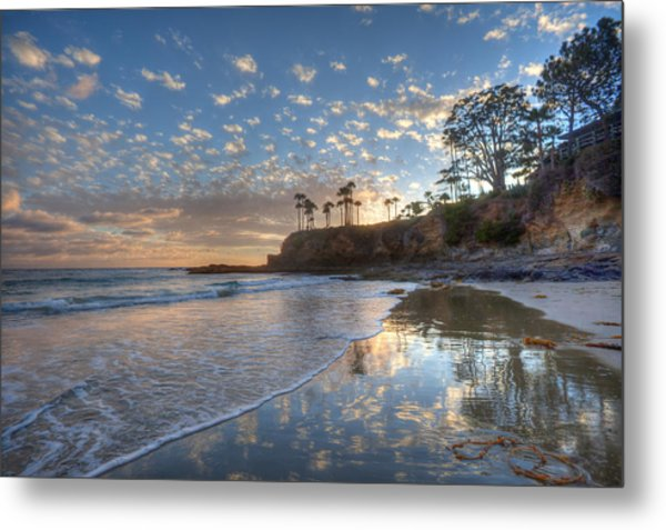 Wet Sand Reflections Laguna Beach Metal Print