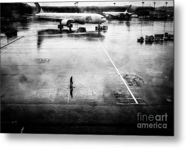 Wet Tarmac Metal Print
