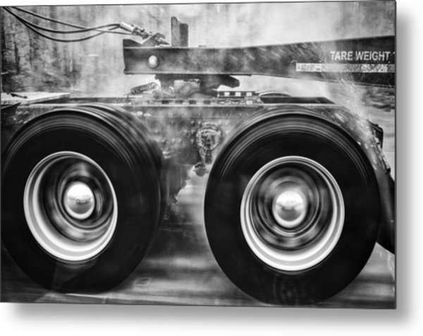 Wet Wheels Metal Print