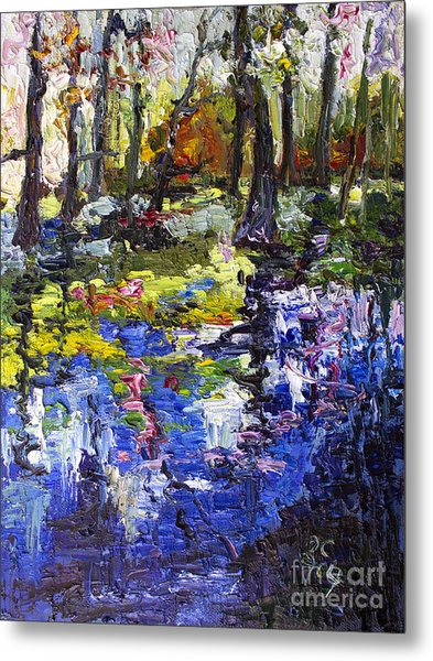 Wetland Reflections Modern Impressionism Metal Print