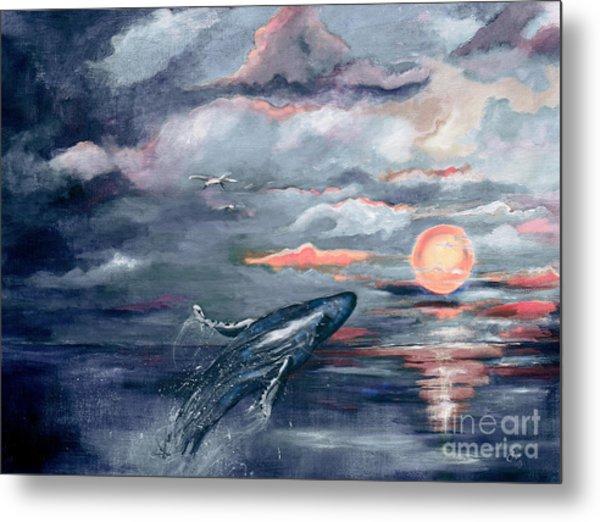 Whale Jumping Ocean Sunset Metal Print