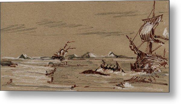 Whaler Ship Metal Print