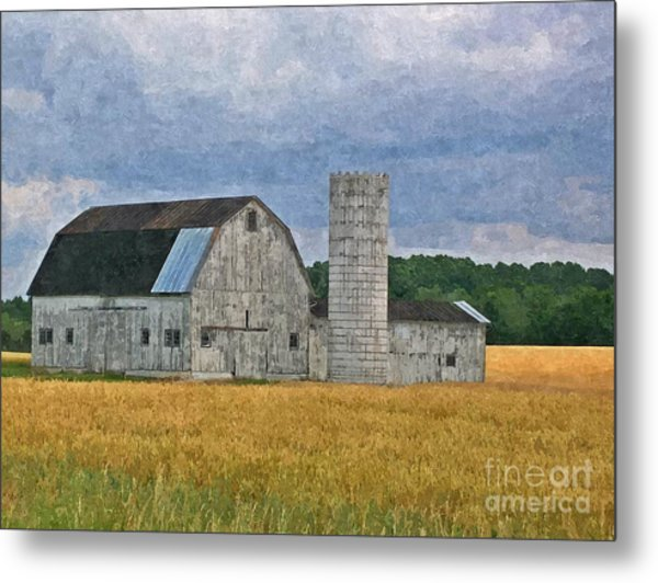 Wheat Field Barn Metal Print