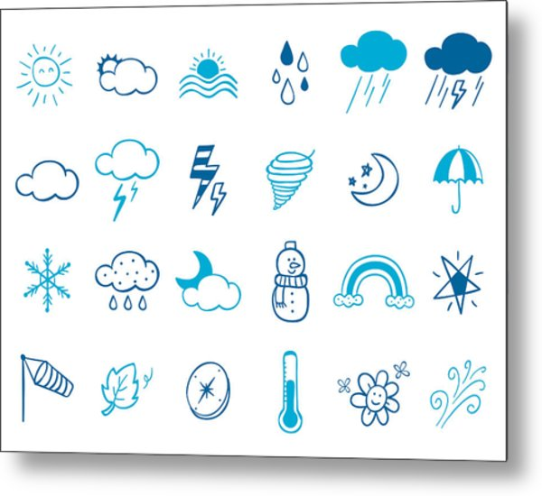 Wheater Icon Set Metal Print by Eastnine Inc.