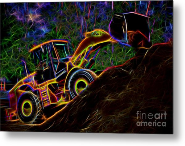 Wheel Loader Moving Dirt - Neon Metal Print