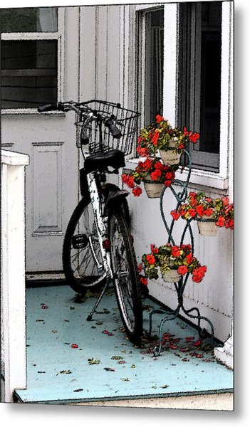 Wheels And Flowers Metal Print