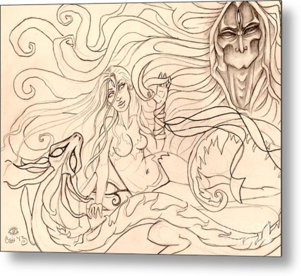 When Demons And Dragons Clash Sketch Metal Print by Coriander  Shea
