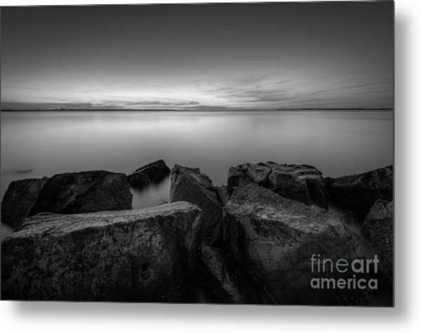Where The Smooth Meets The Rough Bw Metal Print