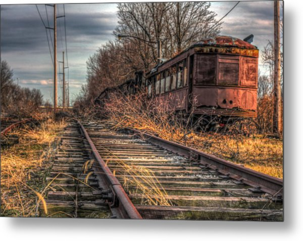 Where Trains Go To Die Metal Print by Gary Fossaceca