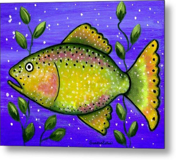 Whimsical Folk Art Fish Metal Print