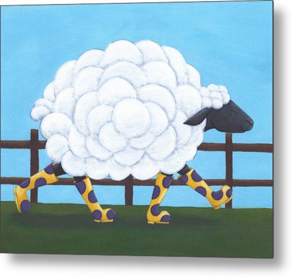 Whimsical Sheep Art Metal Print by Christy Beckwith
