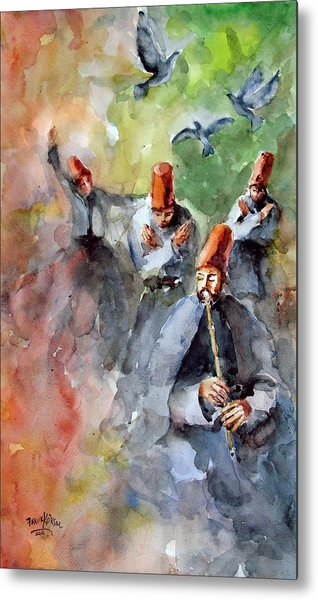 Whirling Dervishes And Pigeons         Metal Print