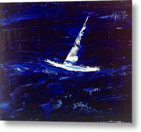 White Boat - Dark Sea And Sky Metal Print