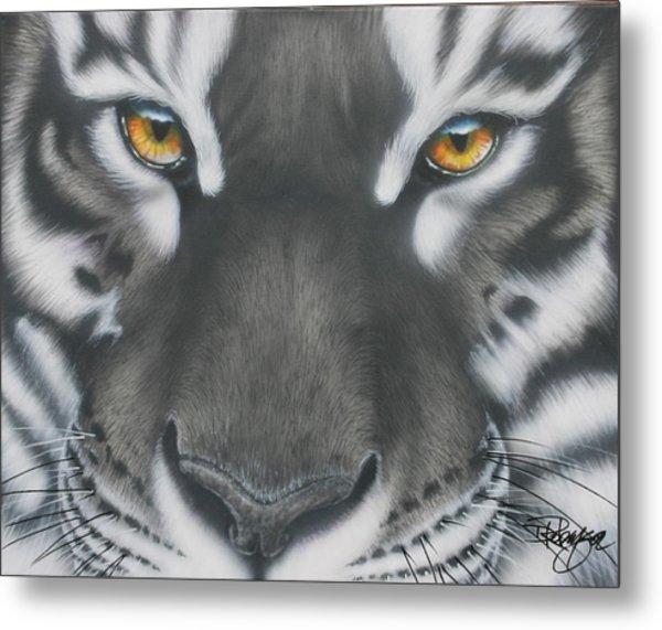 White And Black Tiger Metal Print