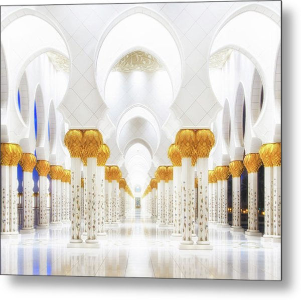 White And Gold Metal Print by Mohamed Raof