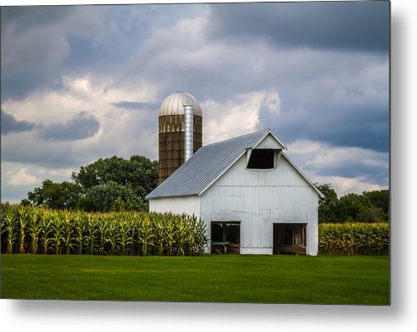 White Barn And Silo With Storm Clouds Metal Print