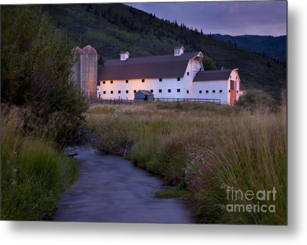Metal Print featuring the photograph White Barn by Brian Jannsen