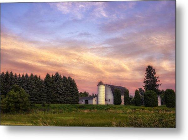 White Barn Sunset Metal Print