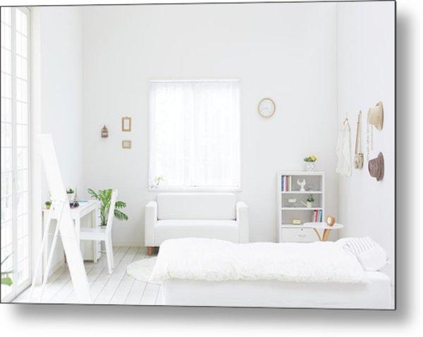 White Bedroom Metal Print by Bloom Image