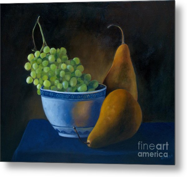 White Bowl With Grapes Metal Print by Stephanie Allison